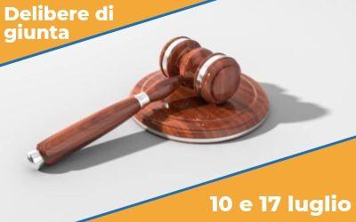 Delibere di Giunta sedute del 10 e 17 luglio 2019