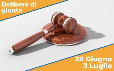 Delibere di Giunta sedute del 28 Giugno e del 3 Luglio 2019