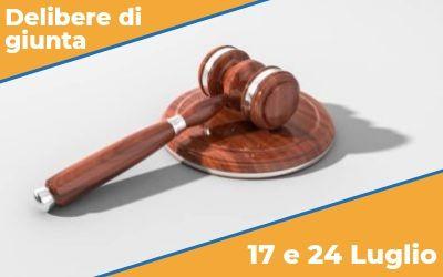 Delibere di Giunta sedute del 17 e 24 luglio 2019