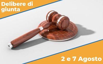 Delibere di Giunta sedute del 2 e 7 Agosto 2019