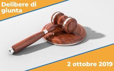 Delibere di giunta del 2 ottobre 2019