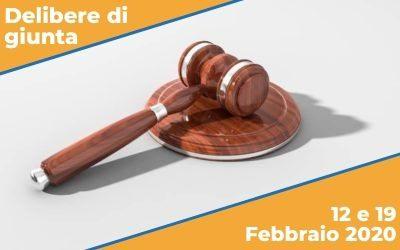 Delibere di Giunta del 12 e 19 Febbraio 2020