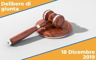 Delibere di Giunta del 18 dicembre 2019