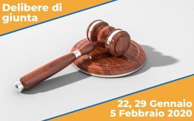 Delibere di Giunta del 22, 29 Gennaio e 5 Febbraio 2020