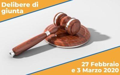 Delibere di Giunta del 27 Febbraio e 3 Marzo 2020