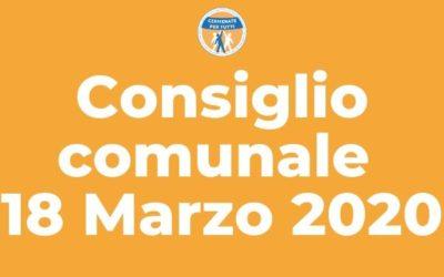 Resoconto del Consiglio Comunale del 18 Marzo 2020