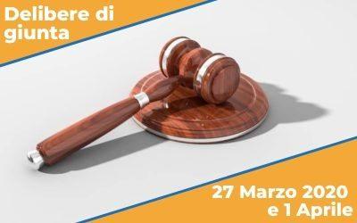 Delibere di Giunta del 27 marzo e 1 aprile 2020