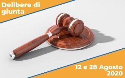 Delibere di Giunta sedute del 12 e 28 Agosto 2020