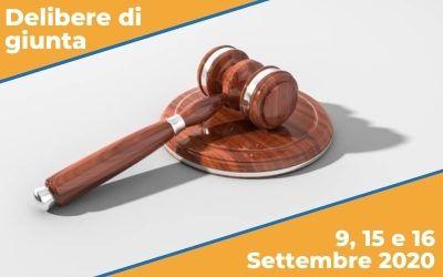 Delibere di Giunta sedute del 9, 15 e 16 Settembre 2020