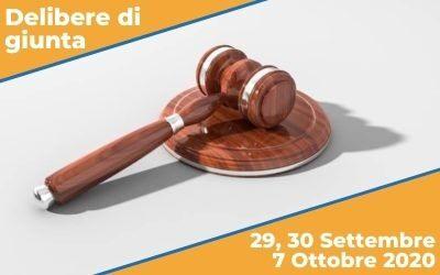 Delibere di Giunta sedute del 29, 30 Settembre e 7 Ottobre 2020