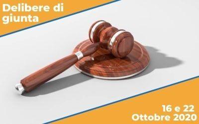 Delibere di Giunta sedute del 16 e 22 Ottobre 2020