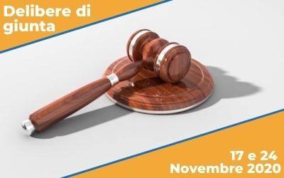 Delibere di Giunta sedute del 17 e 24 Novembre