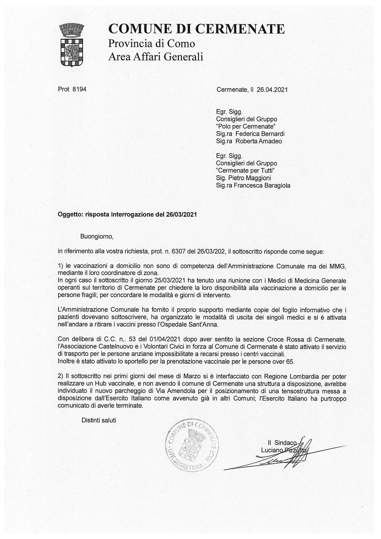 Cermenate: la risposta del Sindaco all'interrogazione sui vaccini del 26 Marzo 2021